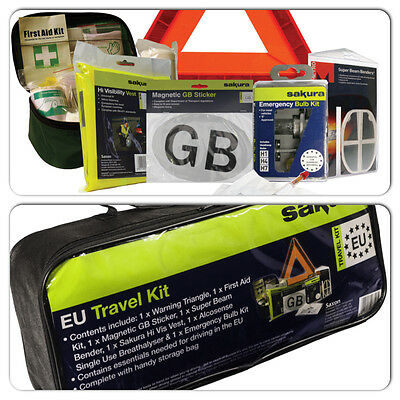 Sakura Car Safety Abroad Legal EU European Essential Travel & Breakdown Kit Set