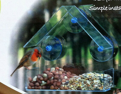 Window Bird Feeder 3 Suction Discs To Stick To Glass Transparent Seed Nuts Suet