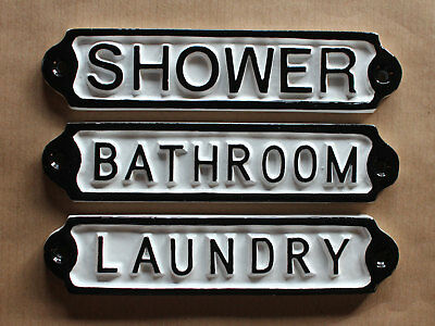 Laundry Bathroom Shower Vintage Cast Metal Door Signs Quality British Made Signs