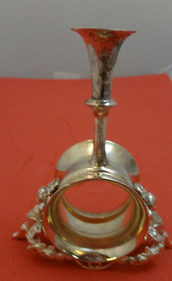 Figural Silverplate Napkin Ring with 2 Cupids and Posey Holder