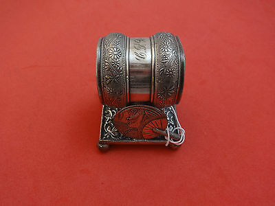 Figural Silverplate Napkin Ring with Japanese Fan