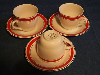 Arklow Pottery, Ireland.  Vintage Early Period Hand Painted 3 Cups & Saucers