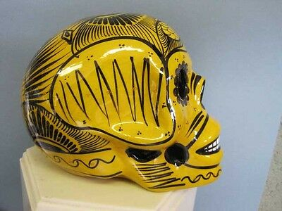 Handpainted Glazed DAY OF THE DEAD Ceramic Skull Yellow and black  Large Mexico