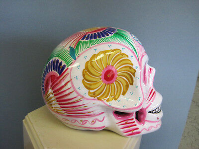 Handpainted Glazed DAY OF THE DEAD Ceramic Skull White and multi  Large Mexico