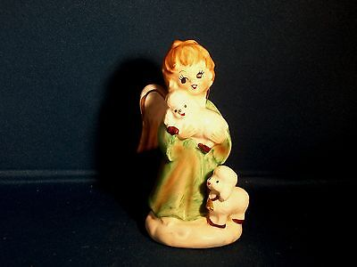 Vintage 1960s Lefton China Japan Christmas Angel With 2 Lambs Porcelain Figurine
