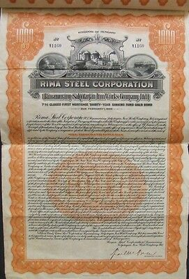 Hungary Hungarian 1925 Rima Steel Corporation $ 1000 UNCANCELLED Bond Loan