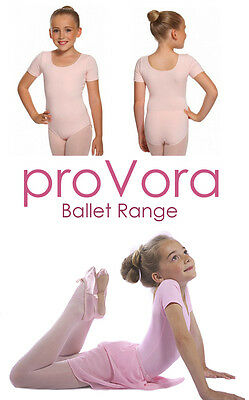proVora Girls Toddler PINK BALLET LEOTARD Short Sleeved Cotton Age 2,3,4,5,6,7,8