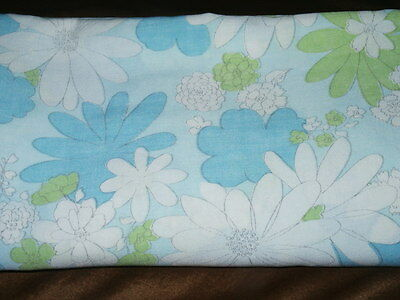 Vintage Cannon Monticello Full Flat Sheet Blue, White & Green Floral