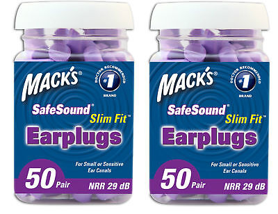 Macks Slim Fit Soft Foam Ear Plugs 50 Pair Jar Two Pack 100 Pairs