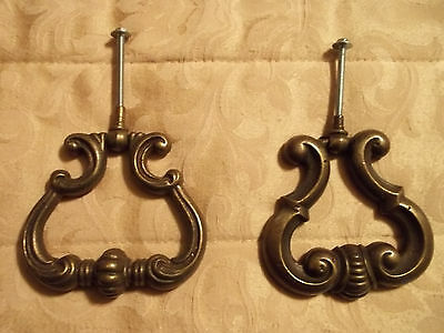 "Two Different Large 3 3/8"" x 3 5/8"" Salvaged Furniture Drawer Pulls, Free S/H"