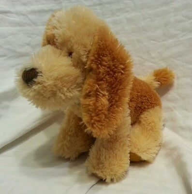 "Russ Berrie puppy Dog Blond Brown Dog Plush 10"" stuffed animal corduroy black cl"