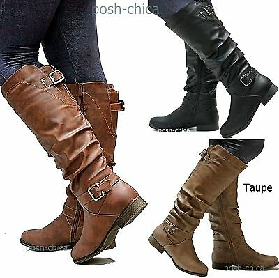 New Women TS66 Tan Black Riding Knee High Boots sz 5 to 11