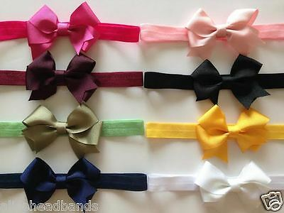 Double Bow Grosgrain Solid Baby Girl Headbands Hairbows Newborn Toddler + Lot