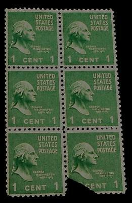Nice Vintage Small Sheet of 6 One Cent George Washington 1789-1797 Stamps, GDC
