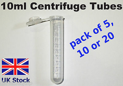 10ml Centrifuge Tubes, Plastic Round Bottom, Centrifugal, push cap  - UK Stock