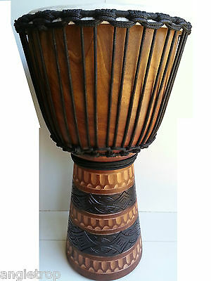 Pro Quality Mahogany Wood Bongo Djembe Drum Tribal Carved Natblk 60Cm Tall