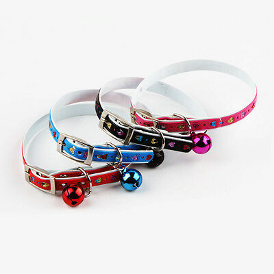 1pc PU Love Bell Collars Puppy Dog Cat Safety Accessories Pet Supplies 4 Colors