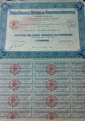France French 1922 Palace Hotel Constantinople Action 100 Francs UNC Bond Share