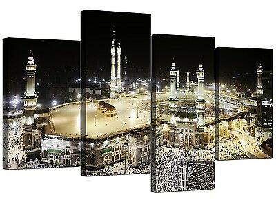Islamic Canvas Pictures of Mecca Kaaba at Hajj for Bedroom - Set of 4