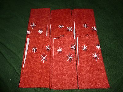 "Placemat's (6) - Shades of Red w/White Stars - J.C.Penny - 20"" x 19"""