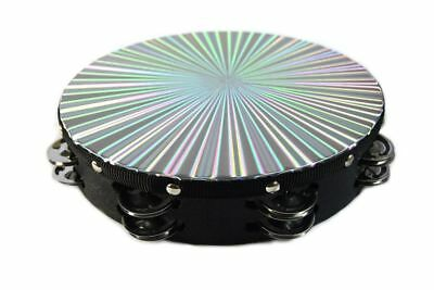 """New 8"""" Reflective Double Row Jingle Percussion Tambourine for Church Band Music"""