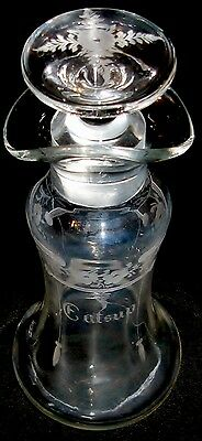 HAWKES Crystal Carved Catsup Condiment Server