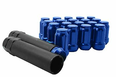 Blue Closed End Lug Nuts 12x1.25 6 Spline Fits Tuner Rims Suburu Nissan Infiniti