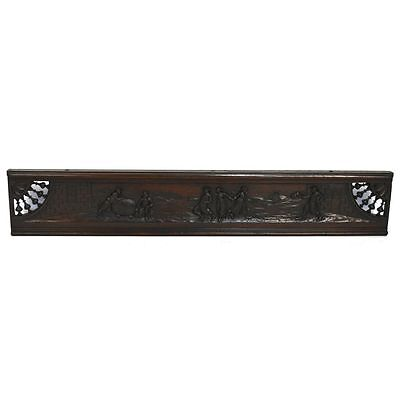 Antique Carved Chestnut French Brittany Architectural Salvaged Pediment Panel