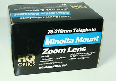 HQ Optics 70-210mm Telephoto Minolta Mount Zoom lens-Mint!!