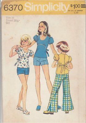 Vintage Bell Bottom Pants or Shorts & Top Sewing Pattern S6370 Size 10