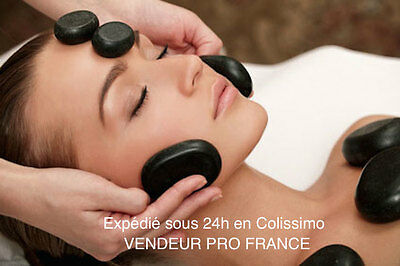 Lot de 9 pierres chauffantes de massage en basalte - Vendeur Pro France -