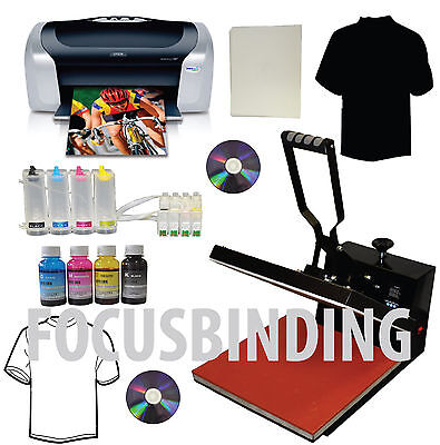 "15x15"" Heat Press,Printer,CISS,Ink Refills Transfer Paper Tshirt Start-up Bundle"