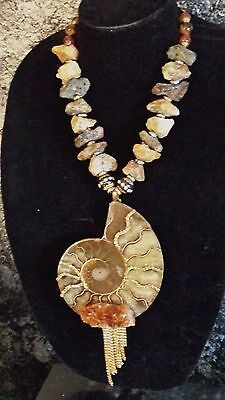 Huge Earthy Ammonite Statement Necklace Catwalk Goddess Couture Posh Chunky Sexy