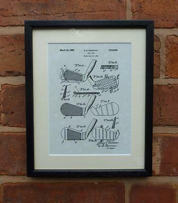 """USA Patent Drawing Vintage GOLF CLUB Mounted Matted PRINT 10"""" x 8"""" 1931 Gift"""