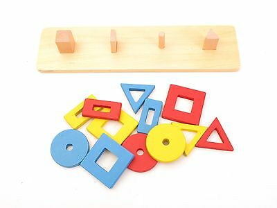 NEW Montessori Infant Toddler Material - Wooden 4 Building Blocks of Graphics