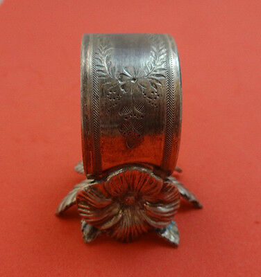 Figural Silverplate Napkin Ring with Flower and Leaf