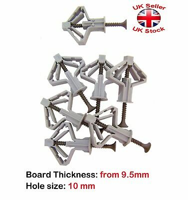 Plasterboard Cavity Wall Heavy Duty Fixings Plugs Pack of 1 to 100 With Screws