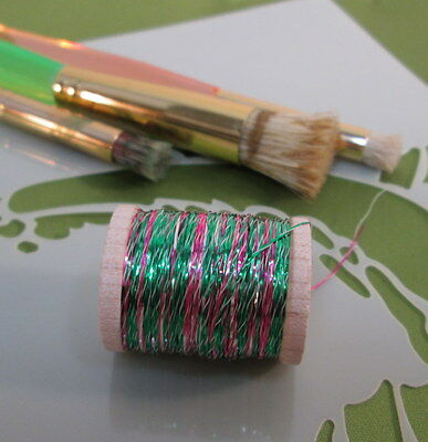 Vintage Emerald Green - Hot Pink - Silver Metallic Tinsel  Fly Tying  Weave Knit