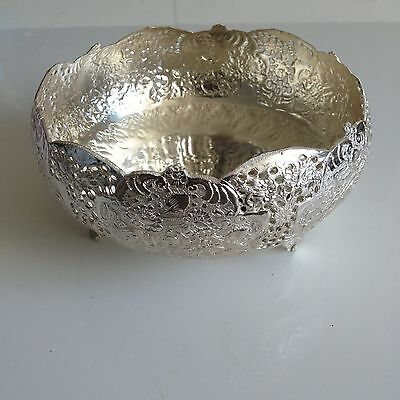 Vintage Antique Hand-Engraved Persian Silver Bowl