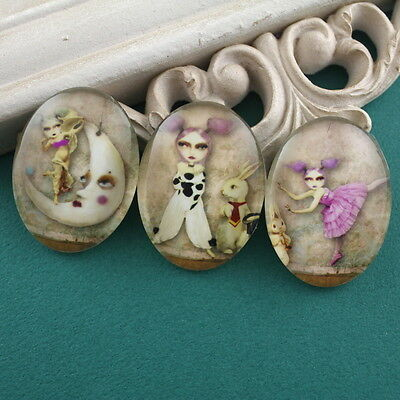 3x HUGE Glass Whimsical Girl Animal Oval Cameo Cabochon 30x40mm Group A