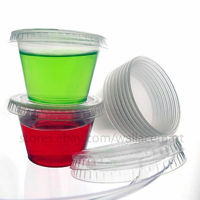 1oz Jello Shot Souffle Portion Cups with Lids, Plastic Clear, Expedited Shipping