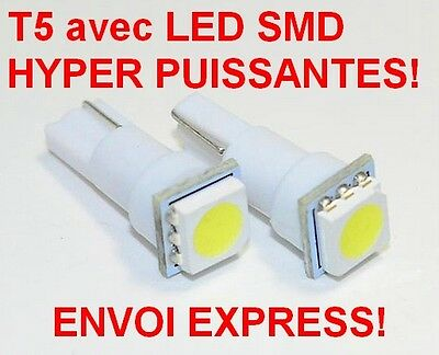 T5 LOT DE  2 ampoules LED SMD ULTRA PUISSANT W5W T5 BLANC XENON PUSH WEDGE LIGHT