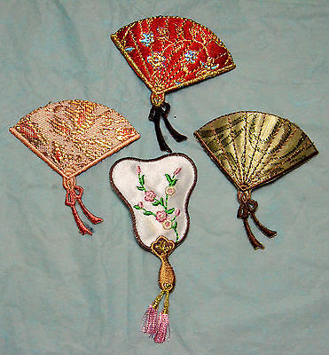 Chinese Fan Embroidered Motif Iron On Patch Badge Oriental Japanese Embroidery