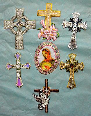 Religious Cross Crosses Embroidered Motif Iron On Patch Badge Embroidery Church