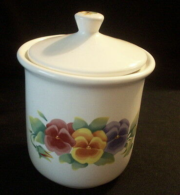 Jay Imports: Corning Corelle SUMMER BLUSH Pansies: Tea Canister w. Lid: EXC:NR