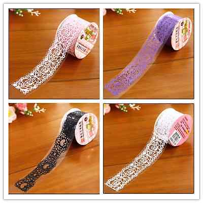 Pretty Floral Paper Lace Decorative Sticker Washi Masking Paper Tape 1Roll