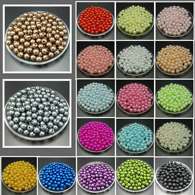 220/140/50pcs Glass Pearl Round Spacer Loose  Beads jewelry making 4mm 6mm 8mm