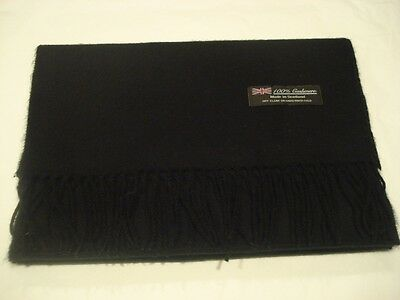 100% Cashmere Winter Scarf SOLID BLACK MADE IN SCOTLAND 2PLY Warm Wool Unisex