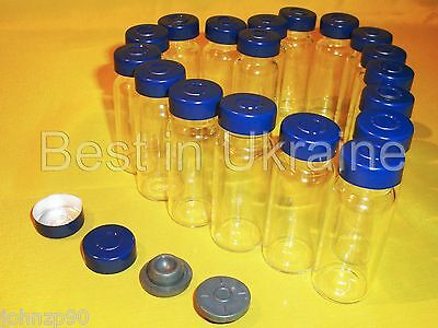 10ml Clear Glass Vials with Stopper & Aluminum Seals,100% New & Empty choose Qty