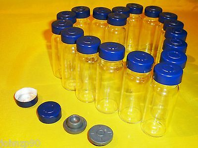 10 x 10ml Clear Glass Vials with Stopper & Aluminum Seals,100% New & Empty